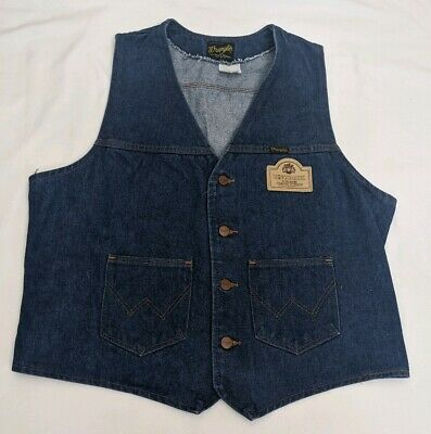 Vintage Wrangler Denim Vest Benchmark Bourbon Patch Sz XL USA