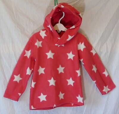 Girls Matalan Pink White Stars Hooded Hoodie Fleece Sweater Jumper Age 3-4 Years