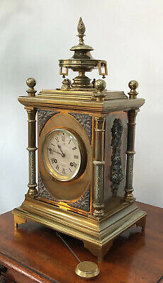 Large Antique J W Benson Striking Brass Table Bracket Clock @ 1880 - Superb