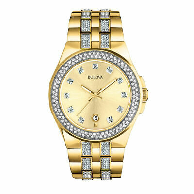 Bulova Mens 98B174 Gold Tone Stainless Steel Watch with Crystal Accents