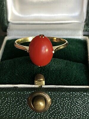 Small But Fine Antique 14k yellow gold Blood Red coral ring
