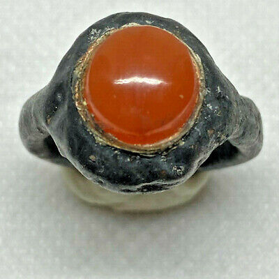 Roman Ancient Silver Plated With Agate Stone Ring- Ra0080