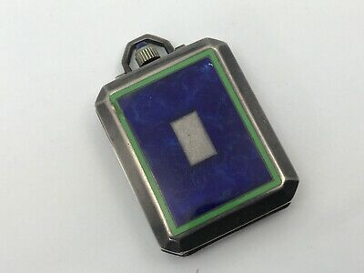 Vintage ELGIN Blue Green Enamel Art Deco Sterling Travel Pendant Watch CIock