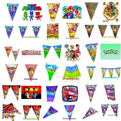 children's birthday party flag banners. Themed birthday party decorations