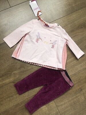 New Ted Baker Baby Girls Top And Velvet Leggings Outfit Set Size 3-6 Months