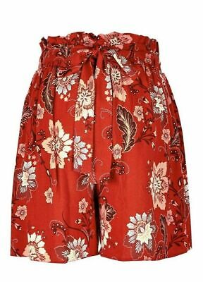 Dp's Maternity Red Floral Print Over Bump Shorts Size 8 & 10 Bnwt