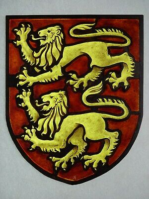 Beautiful Stained glass LIONS Hand painted Kiln fired 225x180 mm Antique style