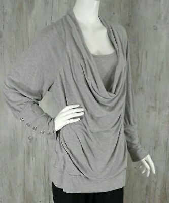 Lane Bryant Women Plus Size 14/16 Cowl Neck Grey T Shirt Top Blouse