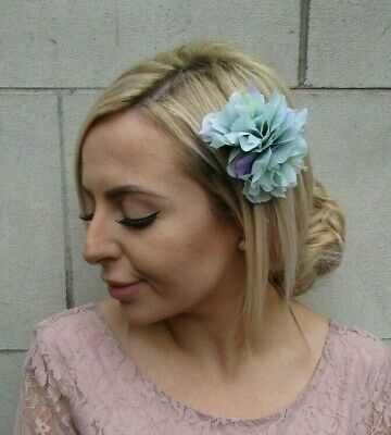 Double Mint Green Lilac Edge Peony Flower Hair Clip Floral Fascinator Rose 0146