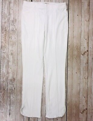 One World pull on stretch knit pants cropped crescent hem WHITE Size XS