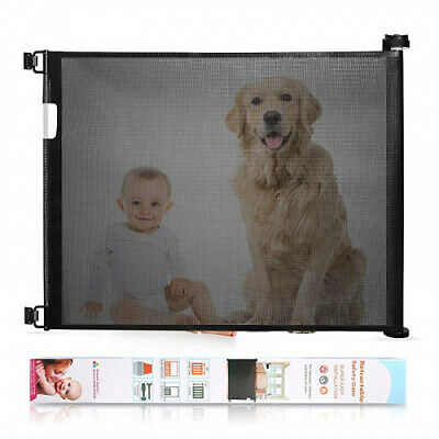 Baby Safety Retractable Baby Gate Black, Extra Wide Baby Safety Gate and Pet