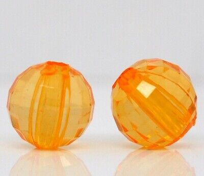 Lot de 20 Perles Orange Transparent en Acrylique facette brillant 8mm Creation b