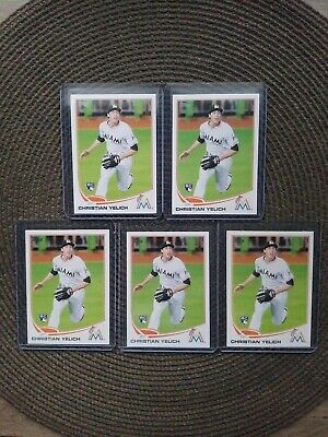LOT (5X) CHRISTIAN YELICH 2013 Topps Update Rookie RC #US290.  MINT!  See Scans