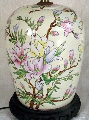 Beautiful Antique Chinese H-Painted Porcelain Ginger Jar Converted into a Lamp
