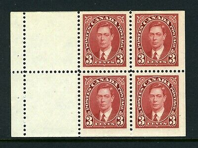CANADA Scott 233a - NH - 3¢ Carmine Mufti Booklet Pane of 4 (.030)
