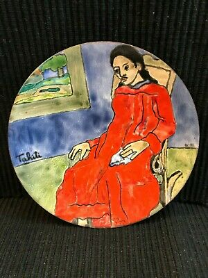 Hand Painted Small Brass Plate From Tahiti Gauguin Rendering By Artist