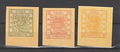 The Emperor of China 1 cent,3 cents and 5 cents large dragon stamps