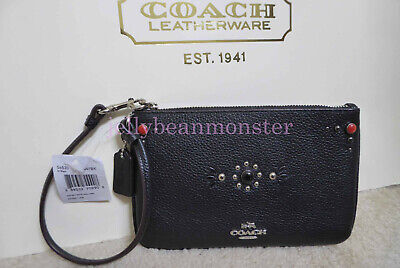 COACH 56530 WESTERN RIVETS LEATHER SMALL ZIP WRISTLET Pouch Purse Black NEW