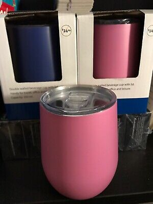 2x NEW Nice & Nifty Stainless Steel Cup Dark Blue & Pink