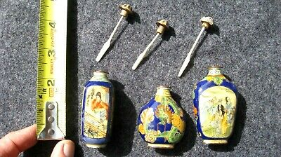 Vintage antique Chinese/Japanese Snuff bottles lot of 3
