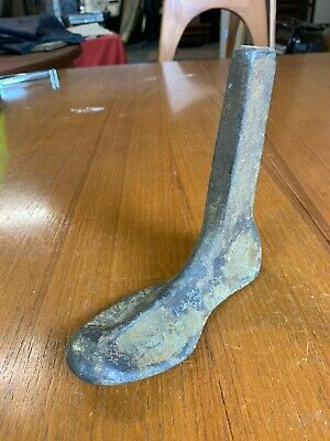 Antique Child's Heavy Cast Iron Foot Cobblers Shoe Last Door Stop Paper Weight