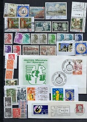 A54 FRANCE LOT une PAGE ALBUM timbres OBLITERES