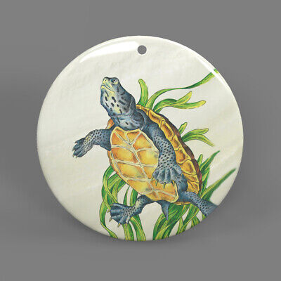 Color Printing Turtle White Shell Pendant Necklace J1705 0107