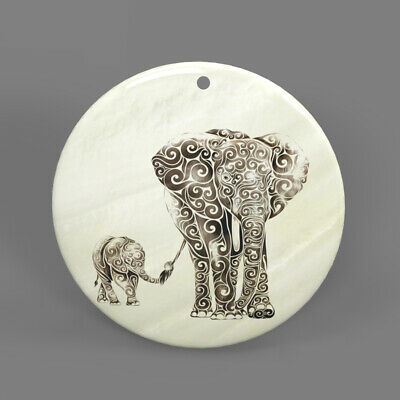 Color Printing Elephant White Shell Pendant Necklace J1705 0123