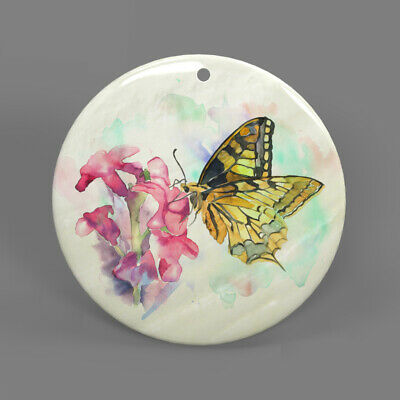 Color Printing Butterfly White Shell Pendant Necklace J1705 0115
