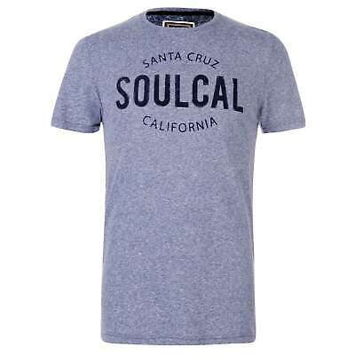 SoulCal Stripe Box Logo Full Length Sleeve T Shirt Mens Gents Tee Top Crew Neck