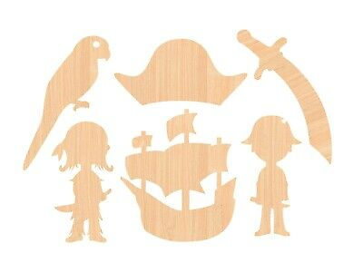 Wooden Pirate Craft Shapes Pack of 6 - kids activity, colour in, paint, decorate