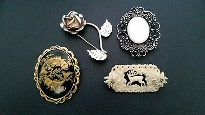 job lot of old antique vintage brooches