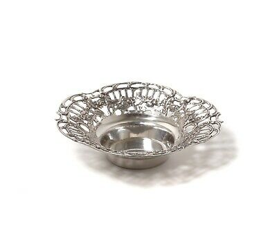 Small silver bowl with open-work edges.  Was imported to Sweden.