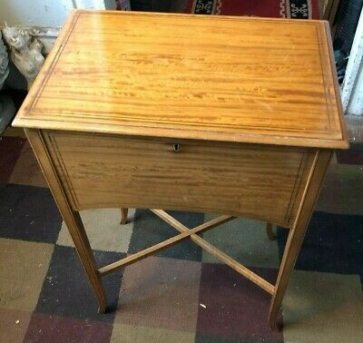 Mid Century Modern Tiger Maple & Inlaid Wood Sewing Cabinet Stand Sweden
