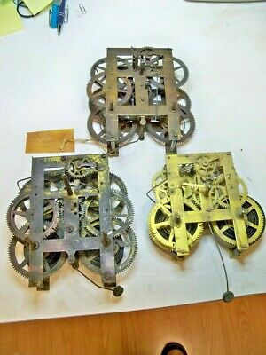 3 Antique Clock Movts Ansonia Gilbert  And Waterbury