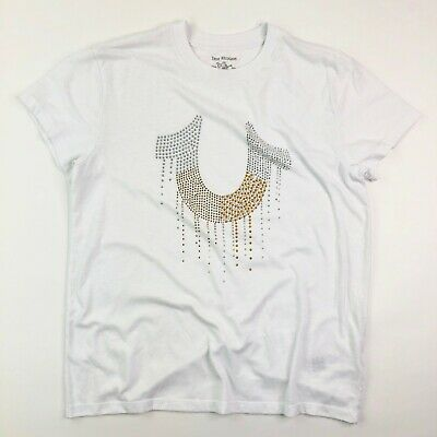 True Religion Women's Studded Drippy Horseshoe Crew Neck Tee Shirt Size Small