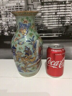 Quality Large Chinese 19Th Century Famille Rose Celadon Vase