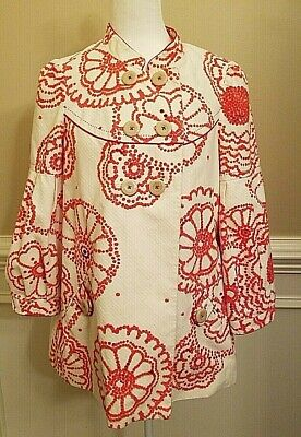 Elevenses Anthropologie Size 8 Mod Red White Floral Swing Coat w/ Balloon Sleeve