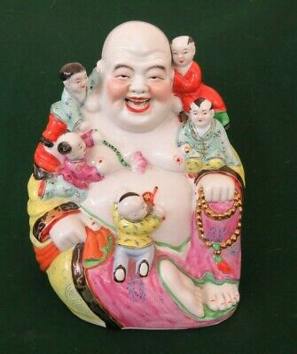 Large Vintage Famille Rose Porcelain Laughing Buddha with 5 Boys