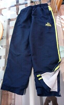 7 - 8 Years Boys Girls Sports Lonsdale Jog Bottoms Navy Blue & Lime