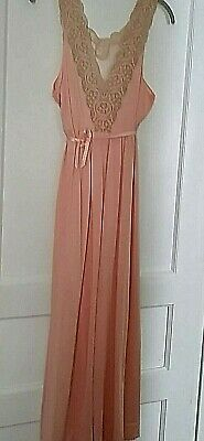 Vintage Formfit Rogers long nylon peach gown with lace top