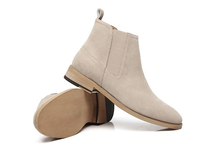 Men's Chelsea Boots Sand Real Leather Suede Casual Light Brown