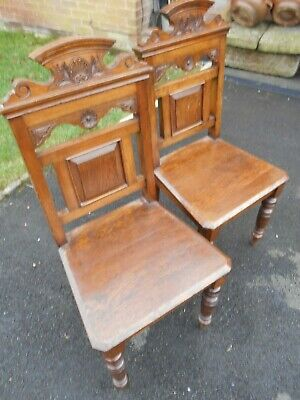 Old Antique Oak Hall Chairs x 2 Large Solid Gothic Victorian