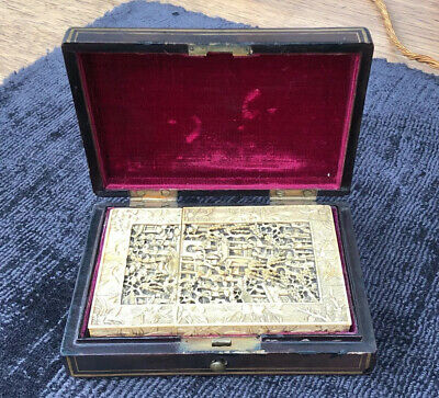 Superb Antique Chinese Canton Carved Card Case & Lacquered Case 1870 - Exquisite