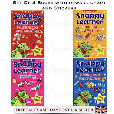 Set 4 Snappy Learner Educational Books 6-8 Year Olds Maths Spelling Read Writing
