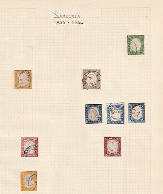 Sardinia - Italy States - 1855 Onwards - Stamp Collection on Old Album Page -