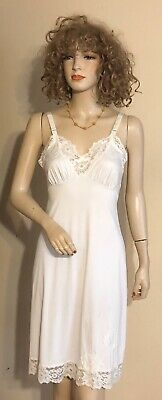 True Vintage Slip Lorraine Hollywood Glam Pin Up Sissy Lace Sheer Ivory 32