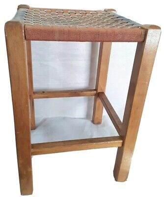 Vintage Wooden Stool - Woven String Raffia ?? Top - For Restoration 12x12x17inch