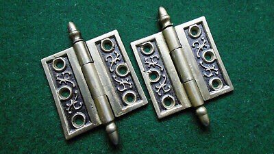 "One Pair Vintage Eastlake Hinges  3""  X 3""  Acorn Tips - Beautiful (13739-C)"