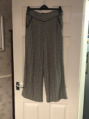 Dorothy Perkins Wide Leg Patterened Trousers Size 12 Vgc
